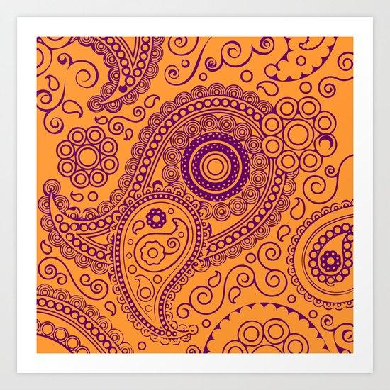 Vintage Pattern Orange Art Print