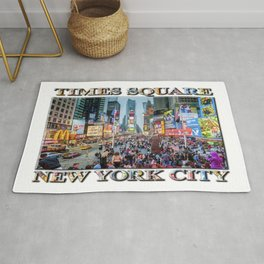 Times Square Tourists (with type) Rug