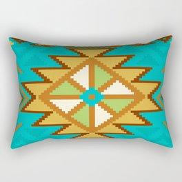 Native Aztec Tribal Turquoise Pattern Rectangular Pillow