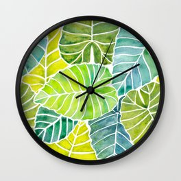 Tropical Leaves Alocasia Elephant Ear Plant Blue Green Wall Clock