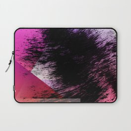 Heavy Black Brushstrokes over Magenta and Orange Shapes Laptop Sleeve