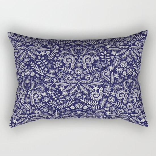 Chalkboard Floral Doodle Pattern in Navy & Cream Rectangular Pillow