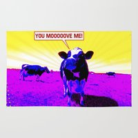 cows Area & Throw Rugs featuring Psychedelic Cows by Peter Gross