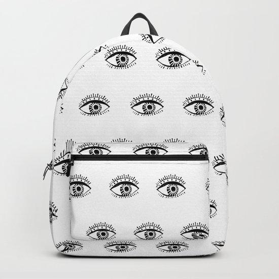Linocut eyes pattern minimal black and white eye patterns Backpack