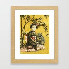 Vintage Geisha And Demon Gerahmter Kunstdruck