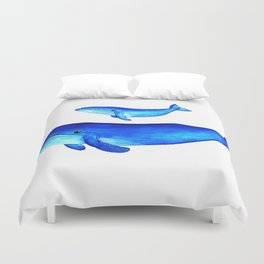 Blue whales Duvet Cover