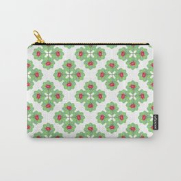 Floral Collage Check Pattern Carry-All Pouch