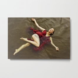 Beautiful woman swimming at the sea Metal Print