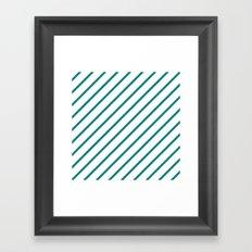 Diagonal Lines (Teal/White) Framed Art Print