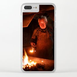Old-Fashioned Blacksmith at work Clear iPhone Case