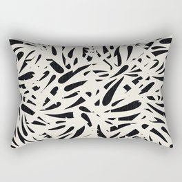 Bamboo Leaves in Black and Ivory / Ink Mood Rectangular Pillow