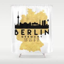 BERLIN GERMANY SILHOUETTE SKYLINE MAP ART Shower Curtain