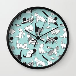 Origami kitten friends // aqua background paper cats Wall Clock