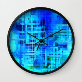 Vibrant Blue and Turquoise Line Abstract Wall Clock