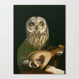 Renaissance Owl Playing His Lute Canvas Print