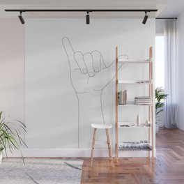 Minimal Line Art Shaka Hand Gesture Wall Mural
