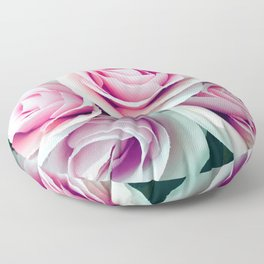 'La Vie Est Belle' (Life is Beautiful) Pink Roses Floor Pillow
