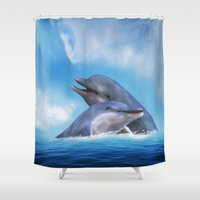 dolphins Shower Curtains featuring Dolphins by Susann Mielke