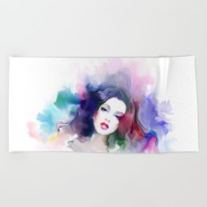 Beauty colored girl Beach Towel
