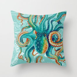 Teal Octopus On Light Teal Vintage Map Throw Pillow