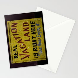 Weathered and Cracking Real Vacation Land Sign Stationery Cards