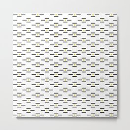 Black lines and golden dots pattern Metal Print