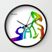 because cats Wall Clocks featuring Because... Cats by J ō v