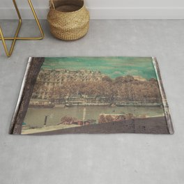 Paris Seine with Boats, Vintage Themed Orange and Teal Rug