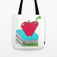 bookworm Tote Bags featuring Bookworm by Atomic Starlights