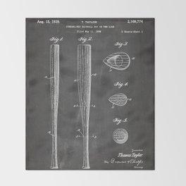 Baseball Bat Patent - Baseball Art - Black Chalkboard Throw Blanket