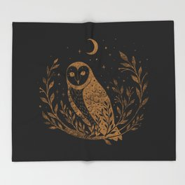 Owl Moon - Gold Throw Blanket