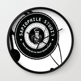Sapiophile Studio Logo Skeleton Stethoscope Wall Clock