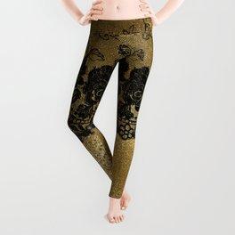 Black luxury lace on gold glitter effect metal- Elegant design Leggings