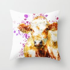 Watercolor Cow Painting, Cow Print, Cow Design, Watercolor Splatter Throw Pillow