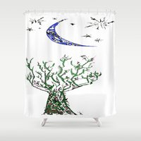 greg guillemin Shower Curtains featuring Moon Tree by Greg Phillips by SquirrelSix