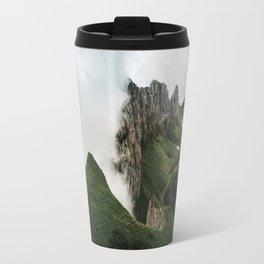 Foggy mountain ridge in Switzerland - Landscape Photography Travel Mug