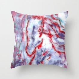 Encaustic Horse (Red) Throw Pillow