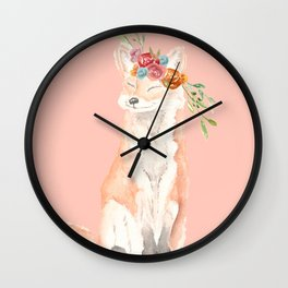 Watercolor fox flower crown peach Wall Clock