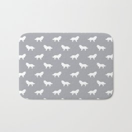 Border Collie grey and white minimal silhouette dog silhouettes dog breeds pattern Bath Mat