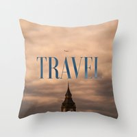 travel poster Throw Pillows featuring Travel by Efty