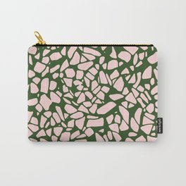 Stone Pattern - Salmon Pink & Olive Green Carry-All Pouch