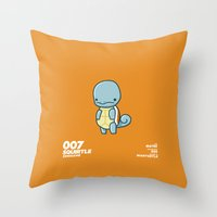 squirtle Throw Pillows featuring 007 Squirtle by Fightstacy