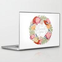 thanksgiving Laptop & iPad Skins featuring Thanksgiving thank you card by Yuliya