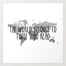 The World Belongs to those Who Read - Silver Art Print