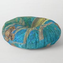 Carolina Parakeet with Cypress, Antique Natural History and Botanical Floor Pillow