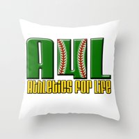 oakland Throw Pillows featuring Oakland A's Shirt Design by John Alim Studios