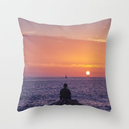Man Enjoying Sunset Throw Pillow