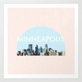 Minneapolis Minnesota Skyline Typography Simple Art Print