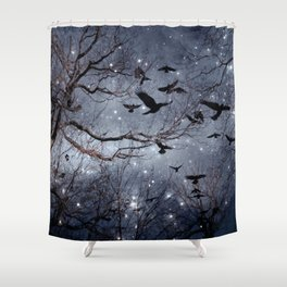 Woodland Crows And Bursting Stars Shower Curtain