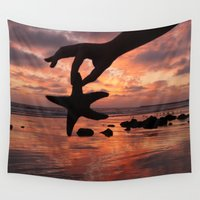 starfish Wall Tapestries featuring Starfish sunset by SammyPhoto